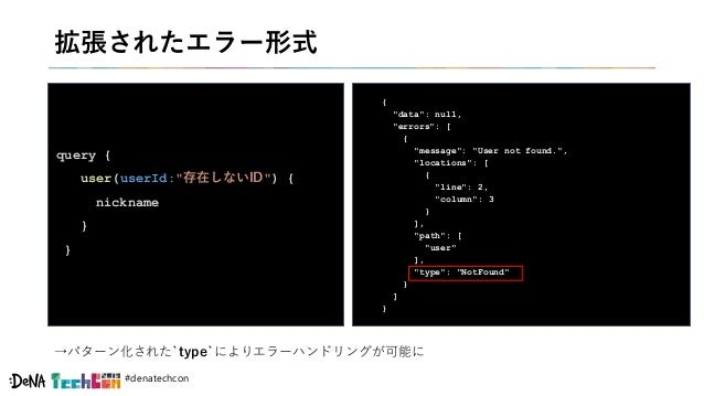 "#denatechcon 拡張されたエラー形式 query { user(userId:""存在しないID"") { nickname } } { ""data"": null, ""errors"": [ { ""message"": ""User not f..."