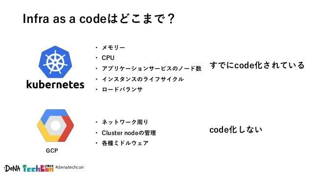 #denatechcon Infra as a codeはどこまで? すでにcode化されている code化しない GCP • メモリー • CPU • アプリケーションサービスのノード数 • インスタンスのライフサイクル • ロードバランサ ...