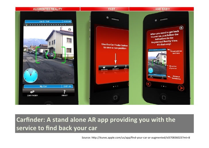 Carfinder: A stand alone AR app providing you with the service to find back your car        ...