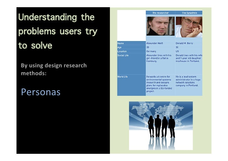 Understanding theproblems users tryto solve                       By using design research methods:   Pers...