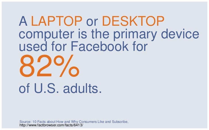 A LAPTOP or DESKTOPcomputer is the primary deviceused for Facebook for82%of U.S. adults.Source: 10 Facts about How and Why...