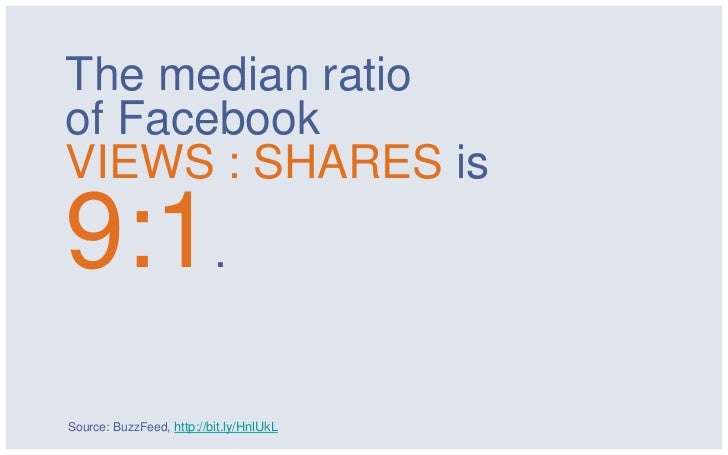 The median ratioof FacebookVIEWS : SHARES is9:1.Source: BuzzFeed, http://bit.ly/HnlUkL