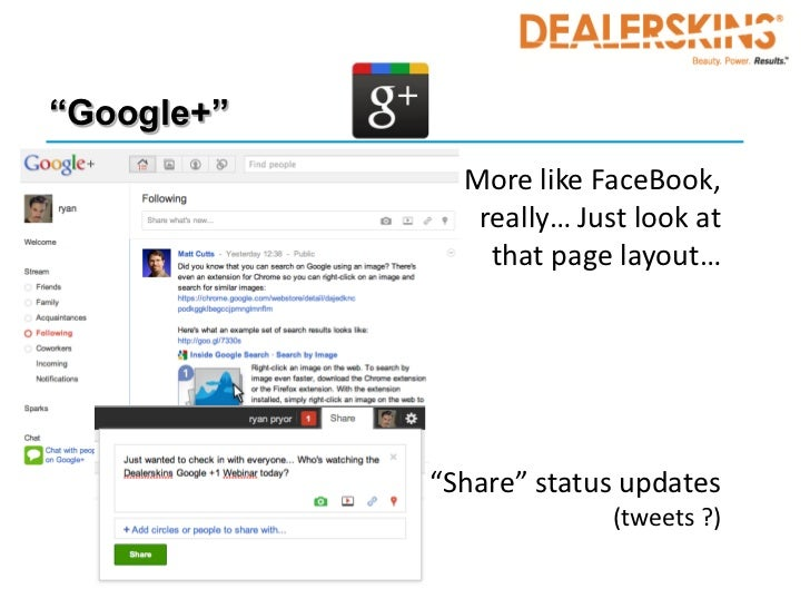 """""""Google+""""            • More like FaceBook,               really… Just look at                that page layout…            ..."""