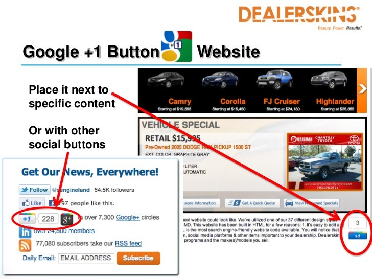 Google +1 Button   WebsitePlace it next tospecific contentOr with othersocial buttons