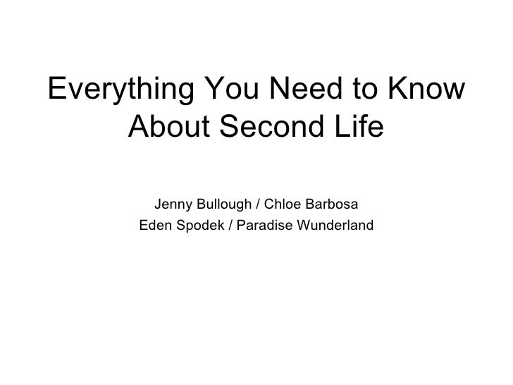 Everything You Need to Know About Second Life Jenny Bullough / Chloe Barbosa Eden Spodek / Paradise Wunderland