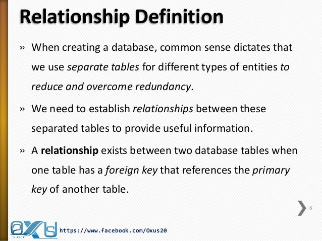 arduous relationship definition in dbms