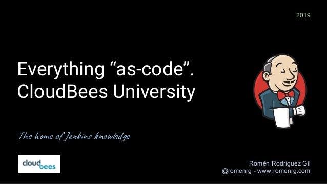"Everything ""as-code"". CloudBees University The home of Jenkins knowledge Romén Rodríguez Gil @romenrg - www.romenrg.com 20..."