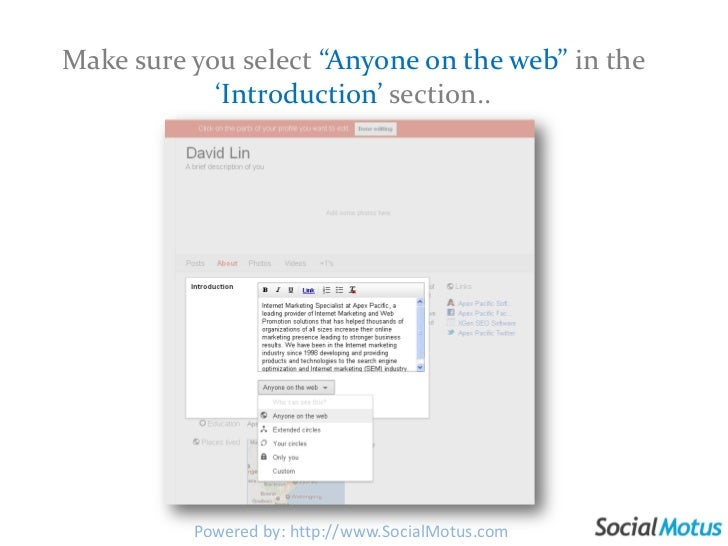 "Make sure you select ""Anyone on the web"" in the 'Introduction' section..<br />Powered by: http://www.SocialMotus.com<br />"