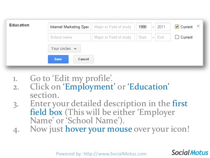 Go to 'Edit my profile'.<br />Click on 'Employment' or 'Education' section.<br />Enter your detailed description in the fi...
