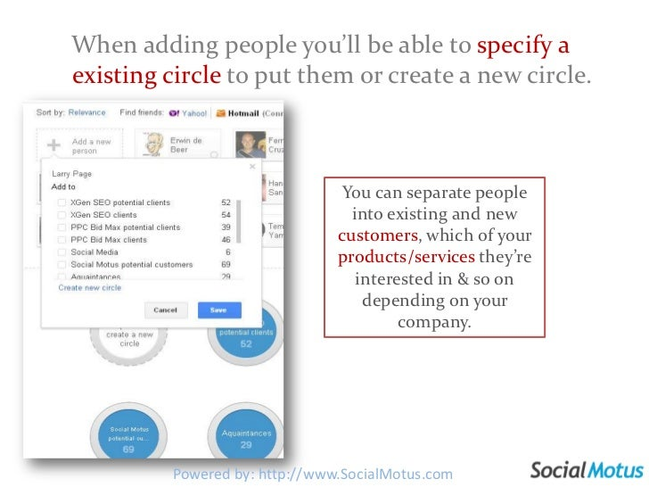 When adding people you'll be able to specify a existing circle to put them or create a new circle. <br />You can separate ...