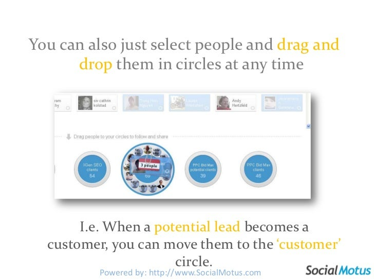 You can also just select people and drag and dropthem in circles at any time<br />I.e. When a potential lead becomes a cus...