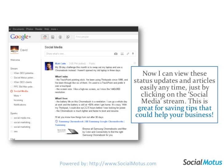Now I can view these status updates and articles easily any time, just by clicking on the 'Social Media' stream. This is g...