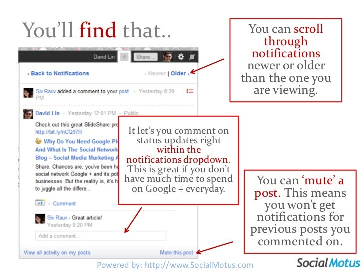 The notificationsare much more advanced than Facebook.<br />View your notifications here.<br />And if you click here..<br ...