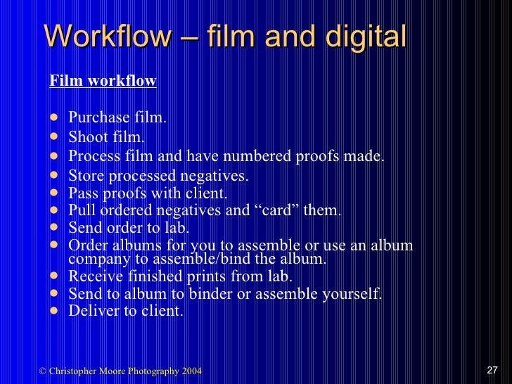 Workflow  –  film and digital <ul><li>Film workflow </li></ul><ul><li>Purchase film. </li></ul><ul><li>Shoot film. </li></...