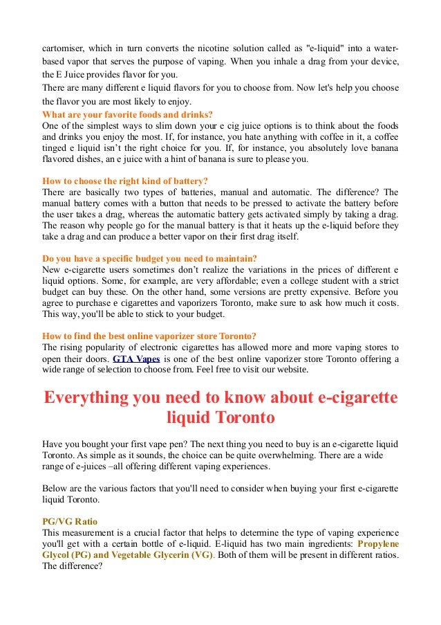 Everything You Need to Know About E-Cigarette Liquid Toronto
