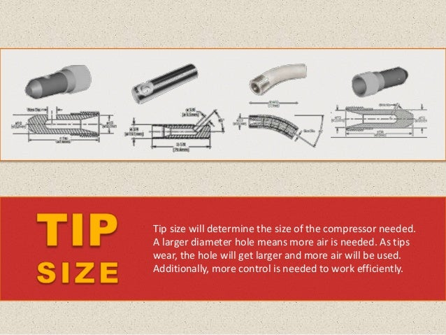 The flow of the abrasive is compacted into a narrow stream at the tip, so the output flow is strong. Tips wear out quickly...