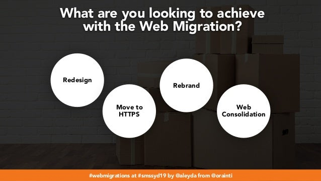 #webmigrations at #smssyd19 by @aleyda from @orainti What are you looking to achieve  with the Web Migration? Redesign Mo...