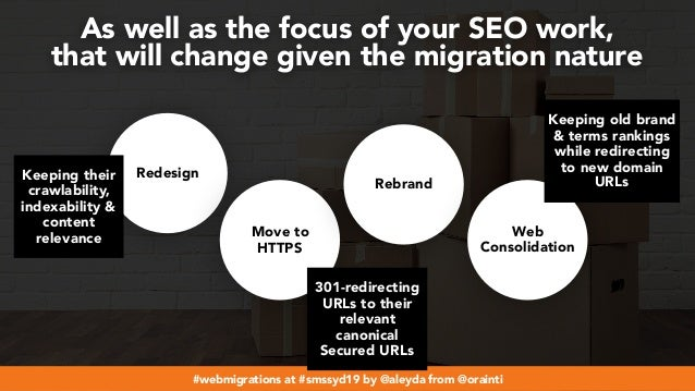 #webmigrations at #smssyd19 by @aleyda from @orainti Redesign Move to HTTPS Rebrand Web Consolidation As well as the focus...