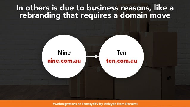 #webmigrations at #smssyd19 by @aleyda from @orainti In others is due to business reasons, like a rebranding that requires...