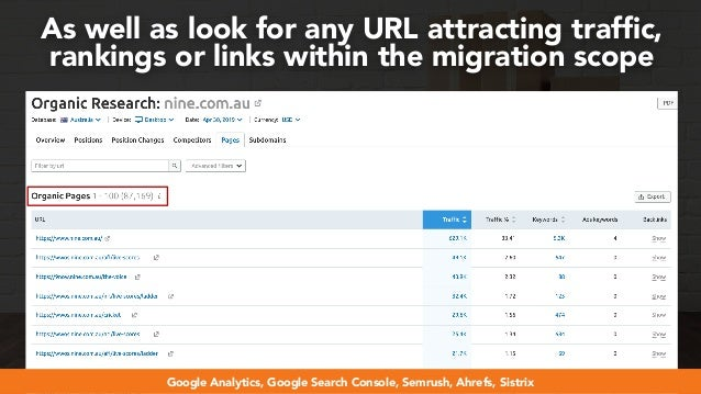 #webmigrations at #smssyd19 by @aleyda from @orainti As well as look for any URL attracting traffic, rankings or links with...