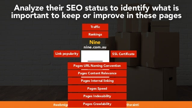 #webmigrations at #smssyd19 by @aleyda from @orainti Rankings Traffic Link popularity SSL Certificate Analyze their SEO st...