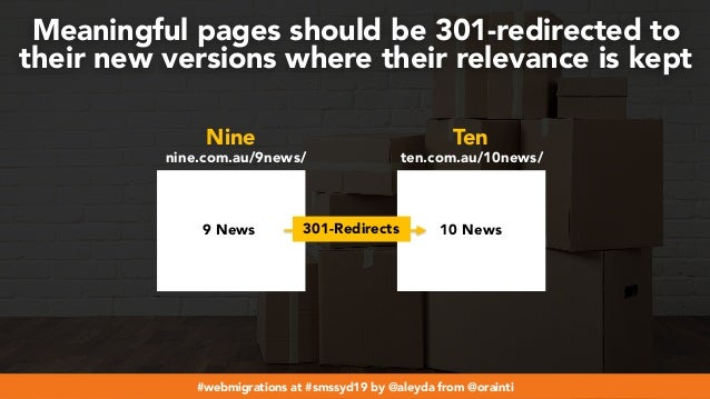 #webmigrations at #smssyd19 by @aleyda from @orainti Meaningful pages should be 301-redirected to their new versions where...