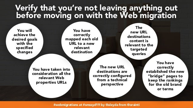 #webmigrations at #smssyd19 by @aleyda from @orainti Verify that you're not leaving anything out  before moving on with t...