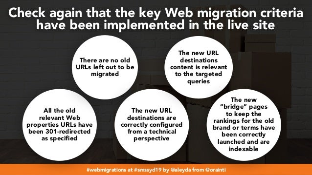 #webmigrations at #smssyd19 by @aleyda from @orainti Check again that the key Web migration criteria  have been implement...