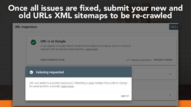 #webmigrations at #smssyd19 by @aleyda from @orainti Once all issues are fixed, submit your new and old URLs XML sitemaps t...