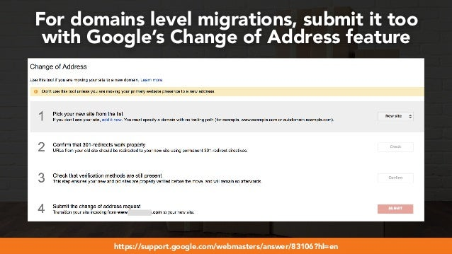 #webmigrations at #smssyd19 by @aleyda from @orainti For domains level migrations, submit it too  with Google's Change of...