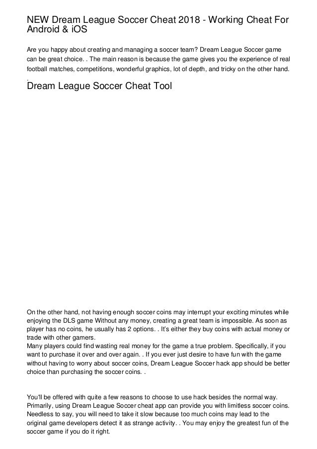 NEW Dream League Soccer Cheat 2018 - Working Cheat For