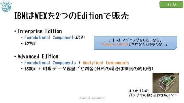 IBMはWEXを2つのEditionで販売 • Enterprise Edition • Foundational Componentsのみ • $275K • Advanced Edition • Foundational Component...