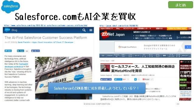 Salesforce.comもAI企業を買収 ©2016 EXA CORPORATION 23 まとめ http://japan.zdnet.com/article/35080670/https://www.salesforce.com/blo...