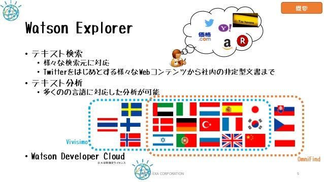Watson Explorer • テキスト検索 • 様々な検索元に対応 • Twitterをはじめとする様々なWebコンテンツから社内の非定型文書まで • テキスト分析 • 多くのの言語に対応した分析が可能 • Watson Develope...