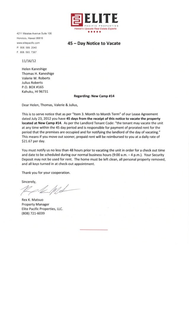 letter to vacate property