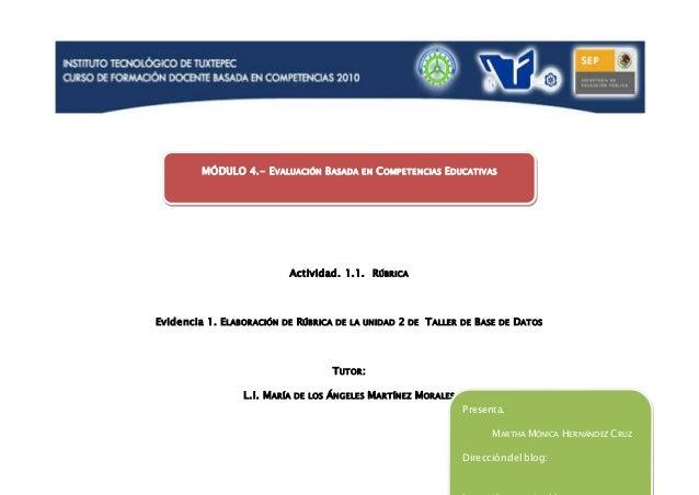 Actividad. 1.1. RÚBRICA Evidencia 1. ELABORACIÓN DE RÚBRICA DE LA UNIDAD 2 DE TALLER DE BASE DE DATOS TUTOR: L.I. MARÍA DE...