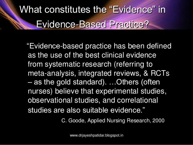 evidence based practice applied nursing research essay Evidence-based nursing practice: a qualitative approach nursing in today's world requires more than just caring for the ill and maintaining wellness of the public.