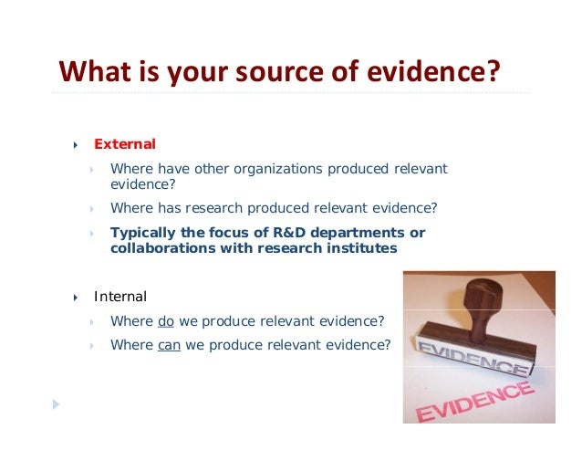 Whatisyoursourceofevidence?yE t l External Where have other organizations produced relevantevidence? Where has res...