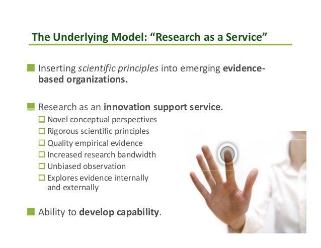 "TheUnderlyingModel:""ResearchasaService""Insertingscientificprinciplesintoemergingevidence‐b d i tibasedorganiz..."