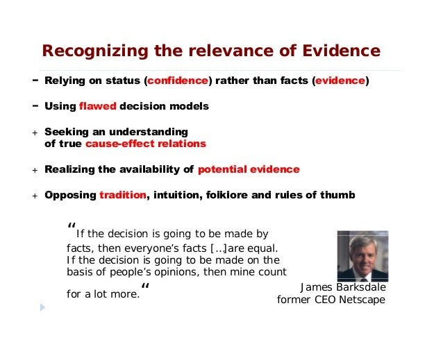 Recognizing the relevance of Evidence− Relying on status (confidence) rather than facts (evidence)− Using flawed decision ...