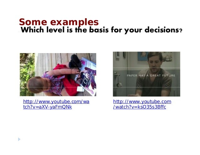 Some examplesWhich le el is the basis for o r decisions?Which level is the basis for your decisions?http://www.youtube.com...