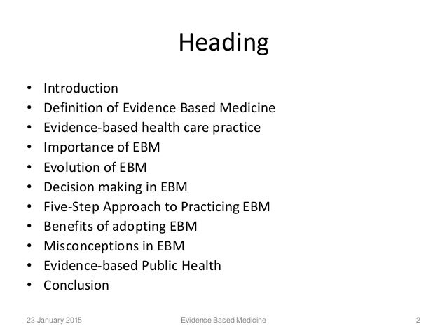 evidence based practice in healthcare