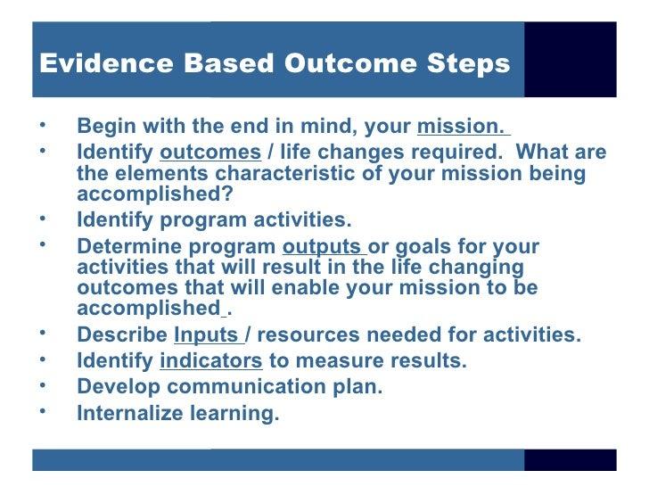 Evidence based outcome