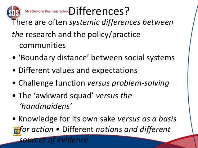 Differences? There are often systemic differences between the research and the policy/practice communities • 'Boundary dis...