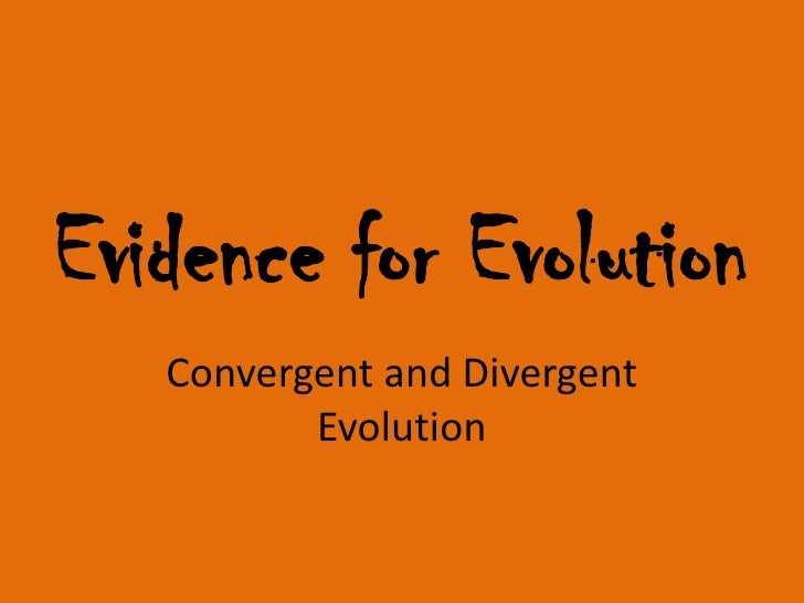Evidence for Evolution   Convergent and Divergent          Evolution
