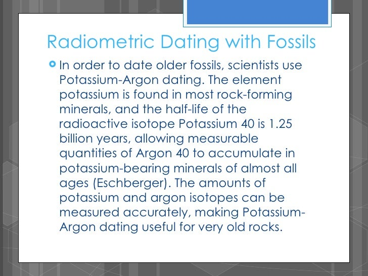 potassium argon dating meaning Video shows what potassium-argon dating means a method of estimating the age of igneous rocks or of archaeological objects by measuring the amount of argon .