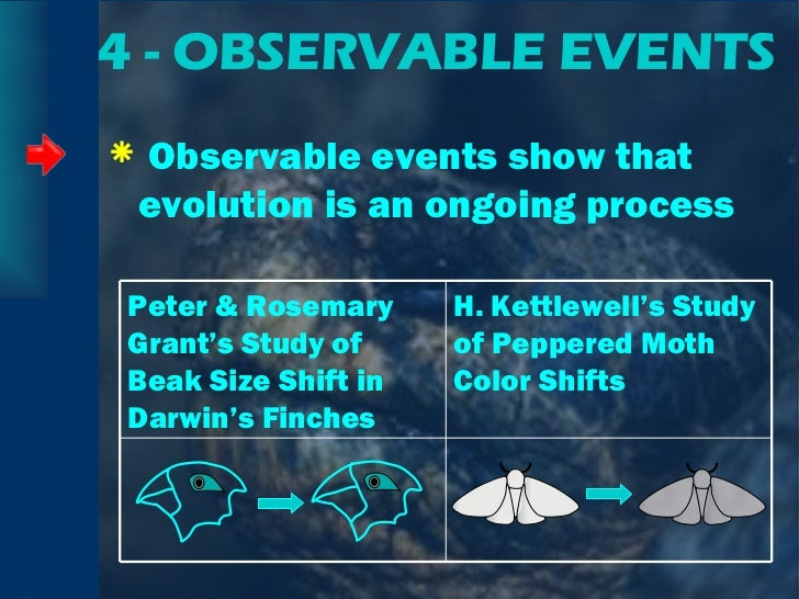 4 - OBSERVABLE EVENTS <ul><li>Observable events show that evolution is an ongoing process </li></ul>Peter & Rosemary Grant...