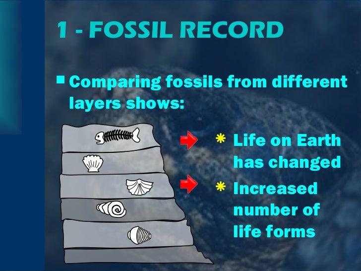 1 - FOSSIL RECORD <ul><li>Comparing fossils from different layers shows: </li></ul><ul><li>Life on Earth has changed </li>...