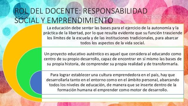 ROL DEL DOCENTE: RESPONSABILIDAD SOCIAL Y EMPRENDIMIENTO La educación debe sentar las bases para el ejercicio de la autono...