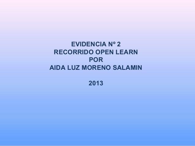 EVIDENCIA Nº 2 RECORRIDO OPEN LEARN POR AIDA LUZ MORENO SALAMIN 2013